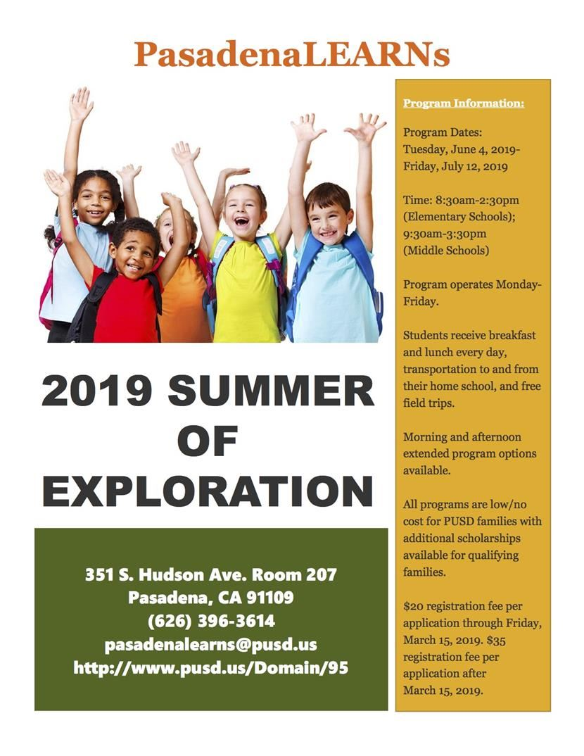 PasadenaLEARNs 2019 Summer of Exploration