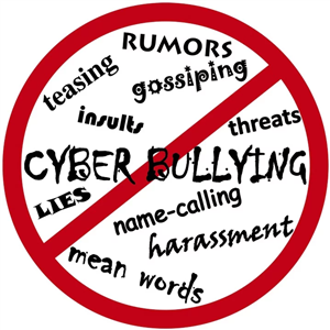 Image with words like cyber bullying, insults, threats with a red circle and a line through it.