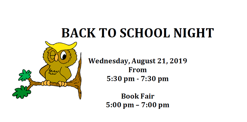 Back to School Night! Wednesday, August 21st!