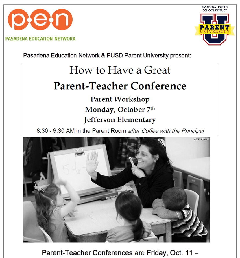 Parent Workshop: How to Have a Great Parent-Teacher Conference