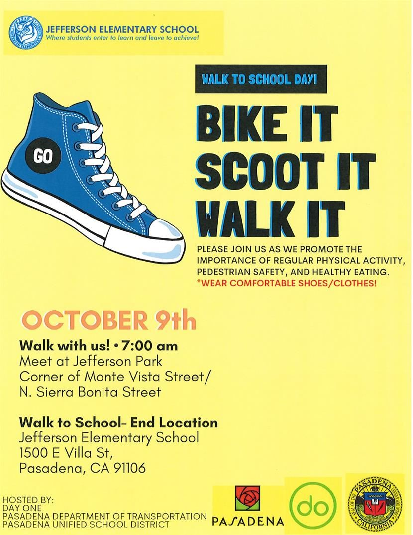 Walk to School Day: October 9th!