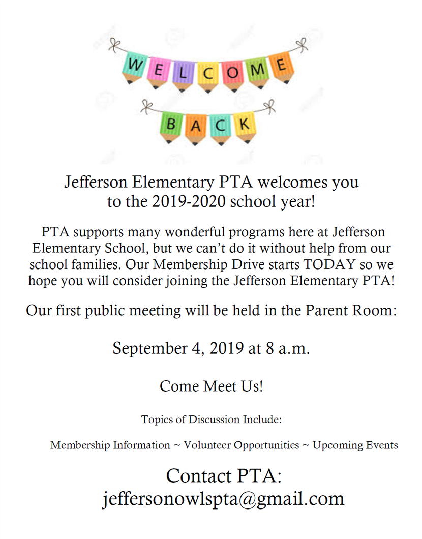 Jefferson PTA Welcomes you to the 2019-2020 school year!