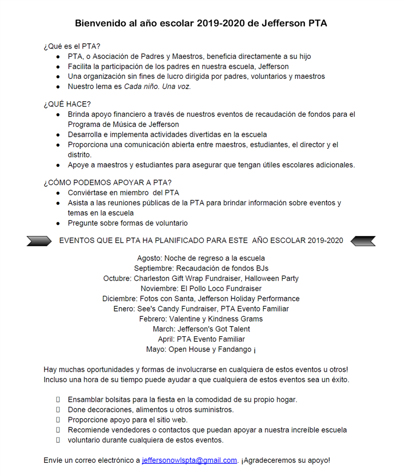 PTA information sheet spanish