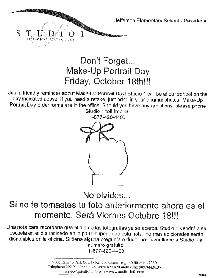 Make-Up Portrait Day - October 18th!