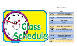 "words ""class schedule"" with graphic of clock and schedule"