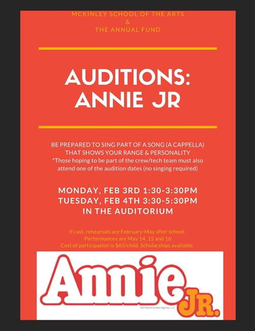 Annie Jr. Opens Auditions at McKinley School