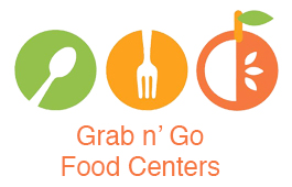 PUSD Food Services Logo with text reading Grab n' Go Food Centers