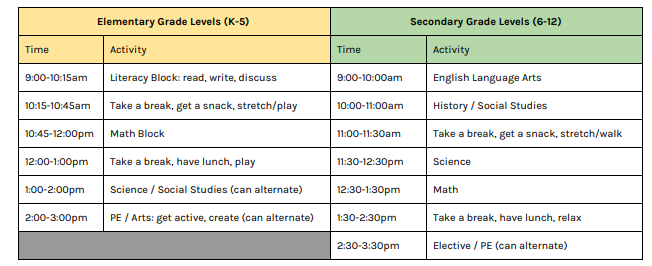 Remote Learning-suggested study times
