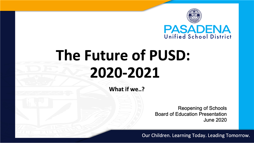 Future of PUSD 2020-21 plan