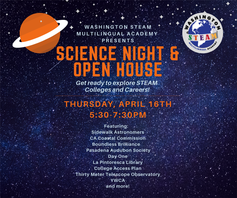 Save the Date for Science Night and Open House April 16th at 5:30PM