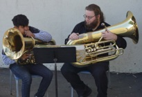 Image of student during coach session with Oakwood Brass Project
