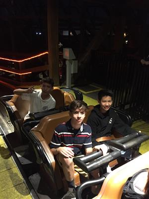 Image of students on a ride at Knott's Berry Farm