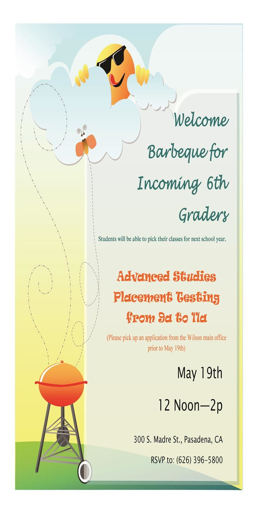 May 19th: Welcome Barbeque for Incoming 6th Graders