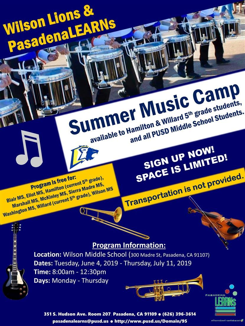 Free Summer Music Program at Wilson*