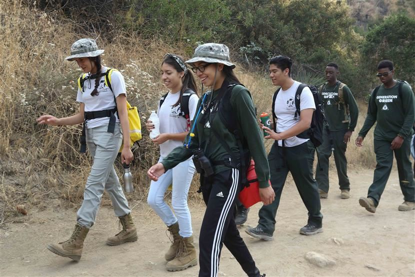 Students hiking Eaton Canyon in Altadena, California