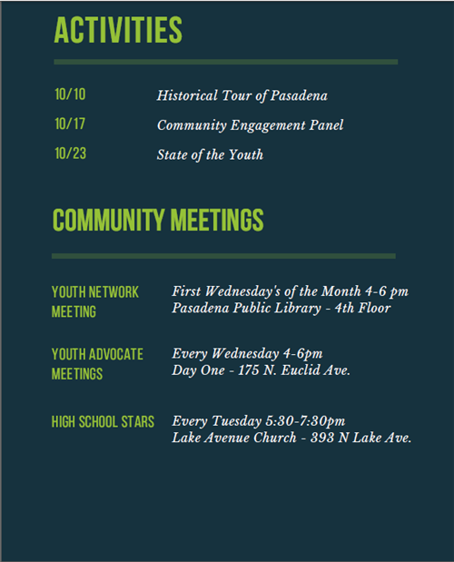 Activities and Community Meetings