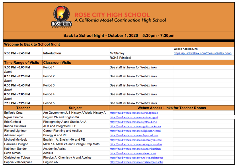BACK TO SCHOOL NIGHT- October 1, 2020 Click here