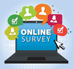 Image of laptop computer with text reading Online Survey