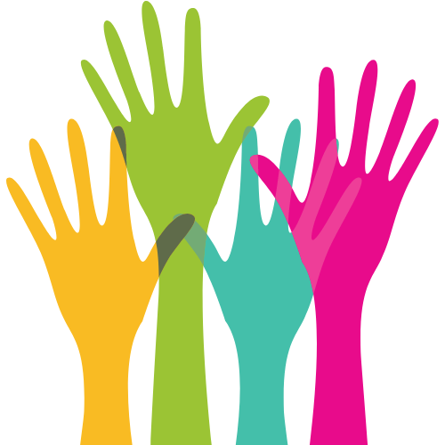 An drawing of raised hands. Hands are colored blue, yellow, green and pink