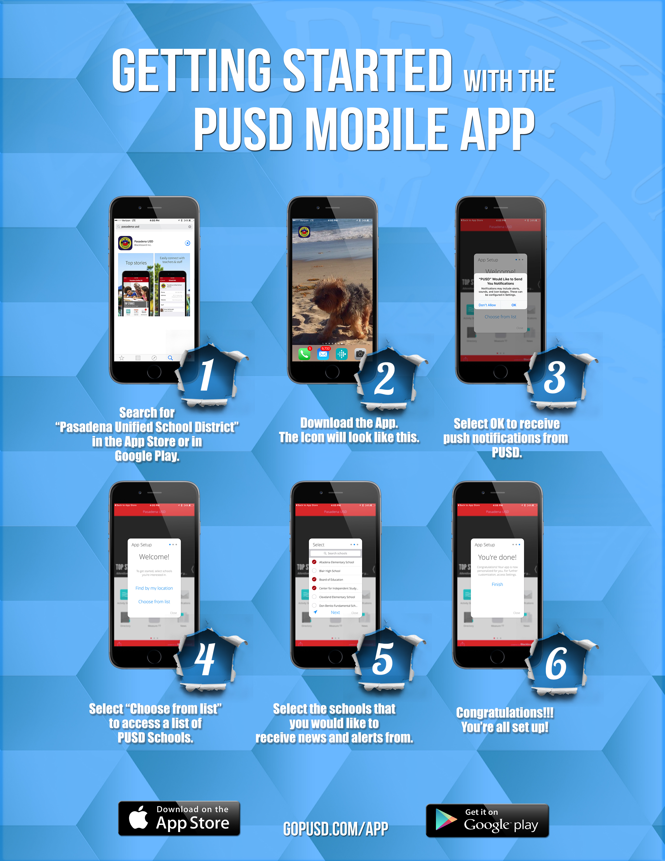 PUSD Mobile App how to download flyer