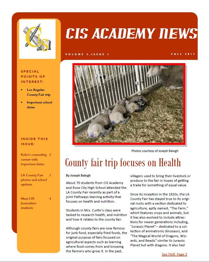 CIS Academy Fall Newsletter 2017