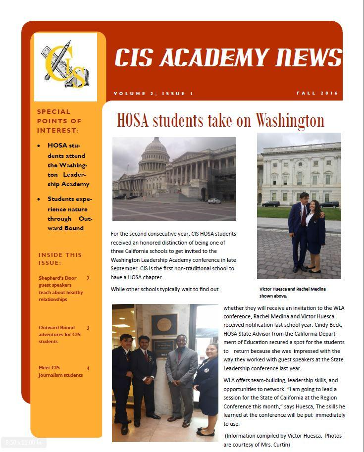 CIS Academy Fall 2016 Newsletter