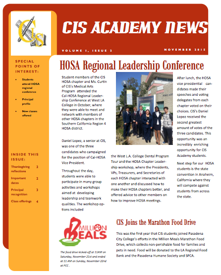 CIS Academy November 2015 Newsletter
