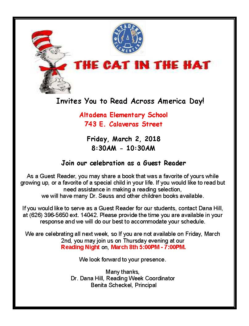 Be a Guest Reader for Read Across America Week!