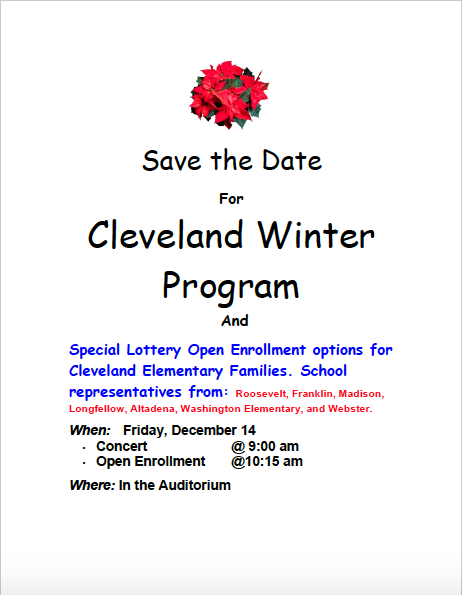 Save the Date Cleveland Winter Concert Dec. 14, 2018