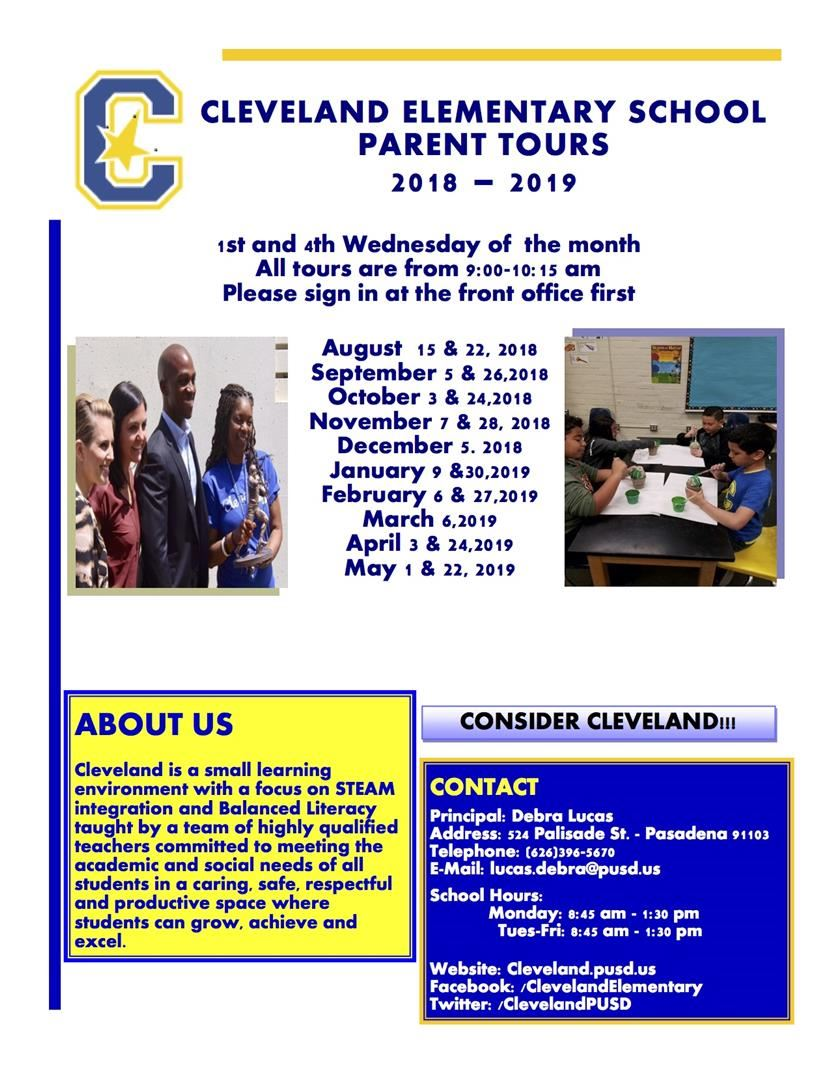 2018-19 Cleveland School Tour Schedule