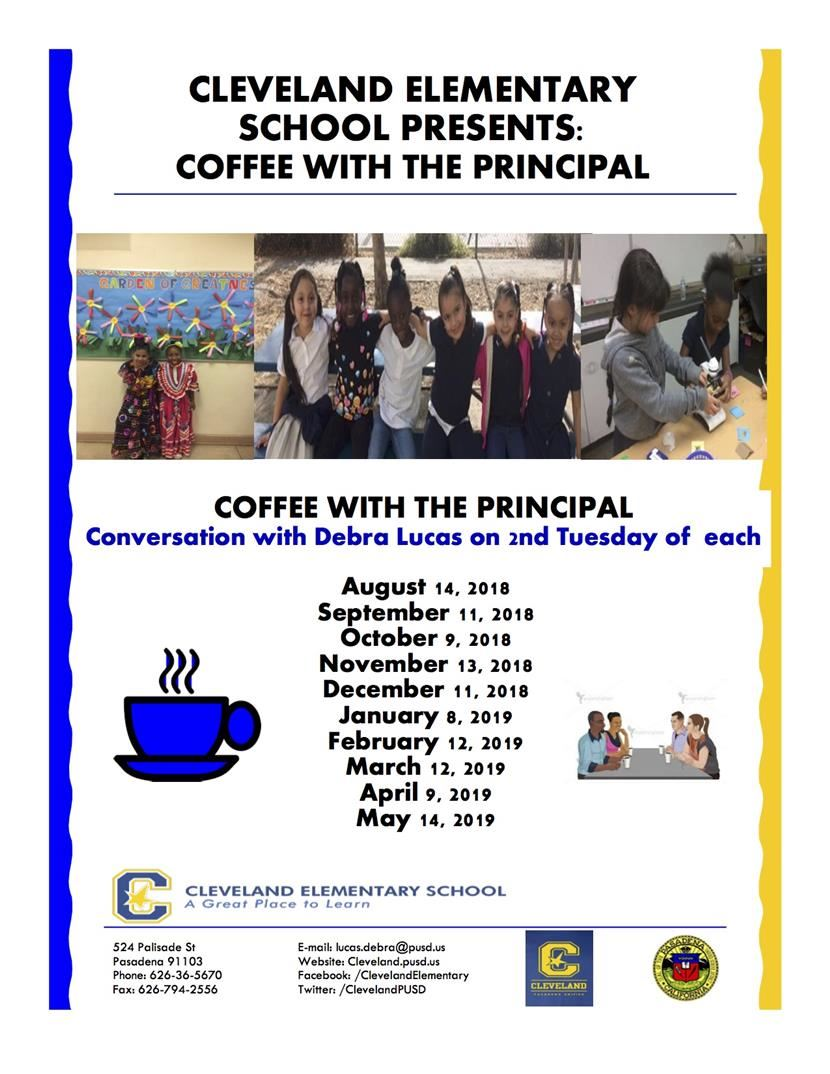 2018-19 Coffee With The Principal Schedule