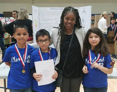 Photo of Principal Lucas with students