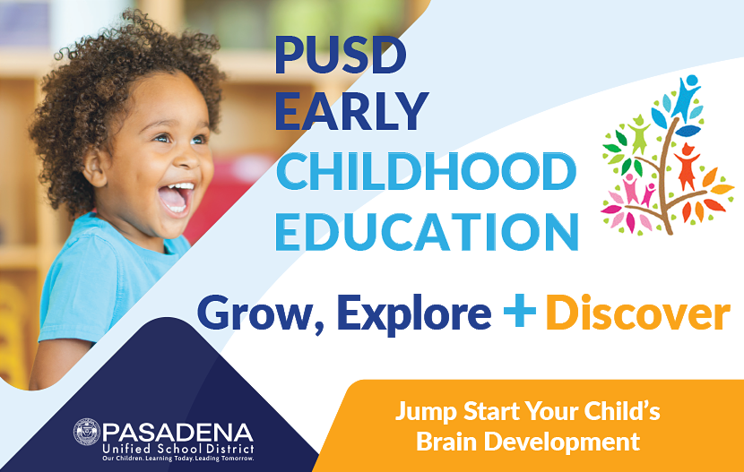 Graphic for PUSD Early Childhood Education - Grow, Explore + Discover!