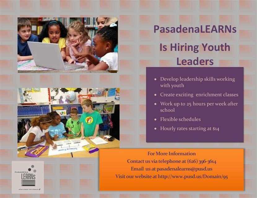 PasadenaLEARNs is Hiring Youth Leaders